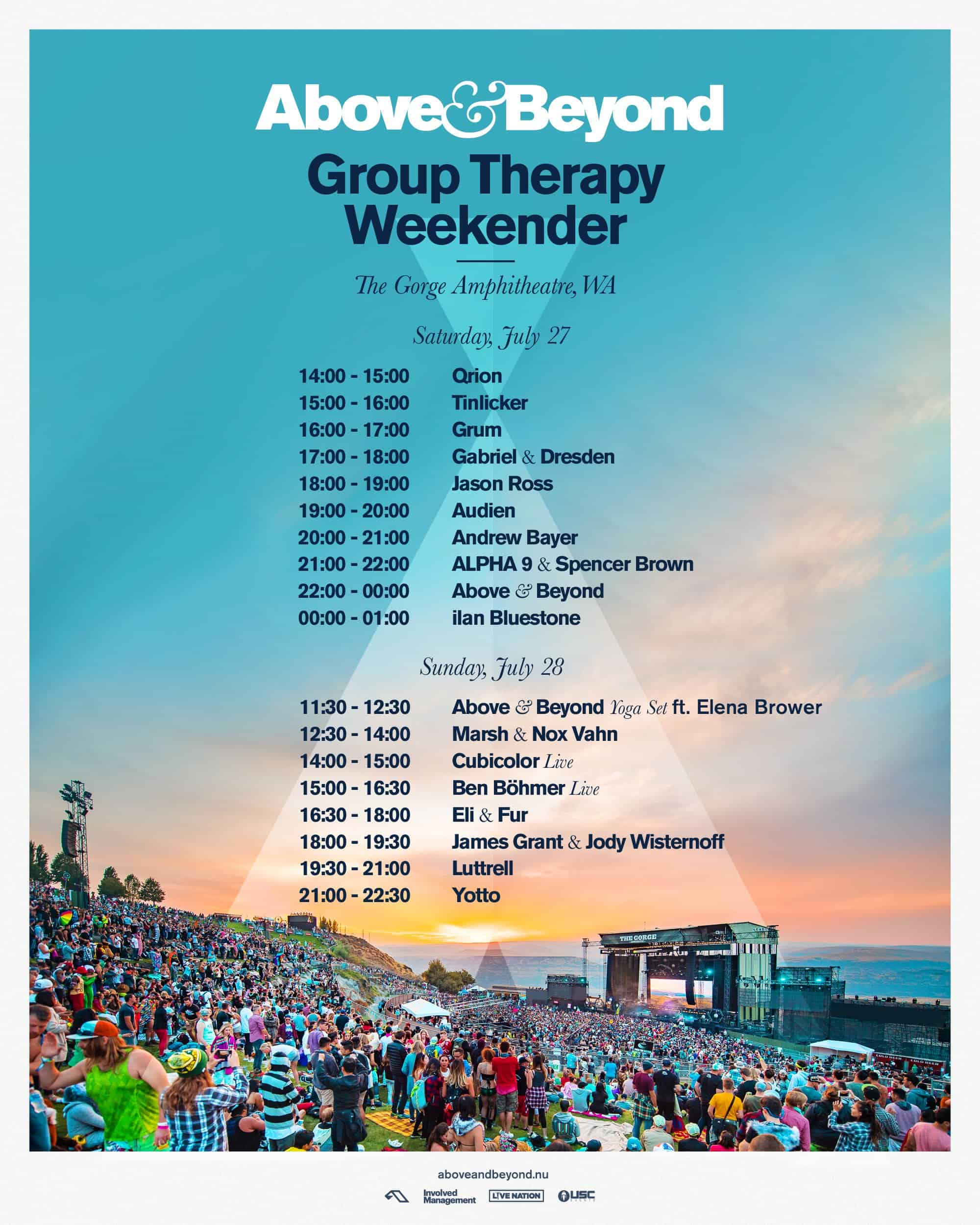 ABGT Weekender Main Stage Timetable