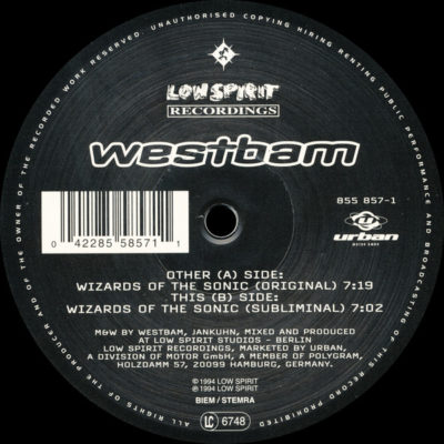 Westbam ‎– Wizards Of Sonic